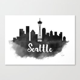 Seattle Skyline Watercolor Painting Canvas Print