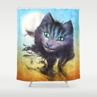 cheshire cat Shower Curtains featuring Cheshire Cat by Diogo Verissimo