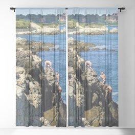 Jacob's Ladder - Newport Cliff Walk Cliff Diving, Rhode Island by Jeanpaul Ferro Sheer Curtain