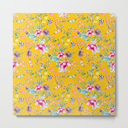 Floral Chinoiserie - Yellow Metal Print