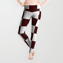 Checkered - White and Bulgarian Rose Red Leggings
