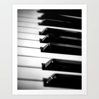 black keys Art Prints featuring Black & White Piano Keys by Eye Shutter to Think Photography