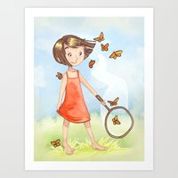 Catching butterflies Art Print
