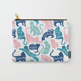 Be like a cat // white background pastel pink blue aqua and teal cat silhouettes with affirmations Carry-All Pouch