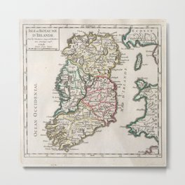 Vintage Map of Ireland (1748) Metal Print