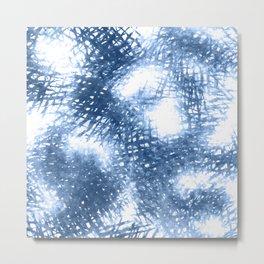 Ink Blue Watercolor Painting Minimalist Design Metal Print