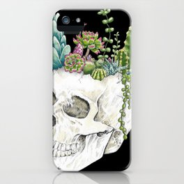 """""""Garden of Thought"""" - Skull and Flowers iPhone Case"""