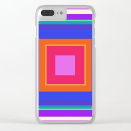 Squares in Purple, Blue, Red, Pink Clear iPhone Case