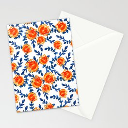 Lovely Blue and Orange Watercolor Floral Print Stationery Cards