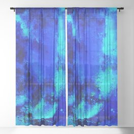 psychedelic color gradient pattern splatter watercolor blue Sheer Curtain