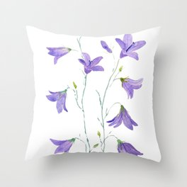 purple wildflower harebell watercolor Throw Pillow