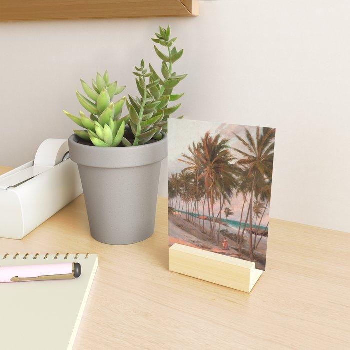 Vintage Palm Tree and Beach Art Mini Art Print