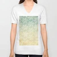 escher V-neck T-shirts featuring escher pattern by Vin Zzep