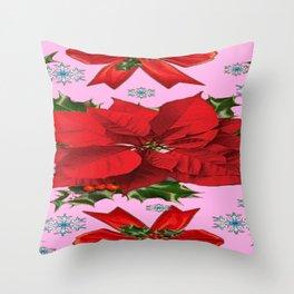 POINSETTIA SNOWFLAKES HOLLY HOLIDAY PINK DESIGN Throw Pillow