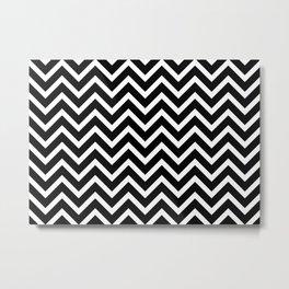 black and white striped zig zag pattern Metal Print