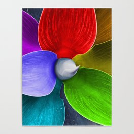 Abstract agave plant leaves painted rainbow colors Poster