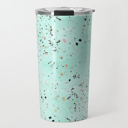 Mint and gold marble terrazzo design Confetti Travel Mug