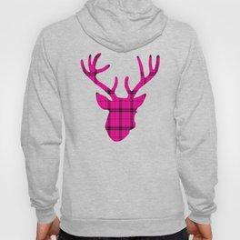 Plaid Deer Head: Pink Hoody