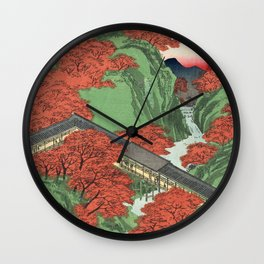 Ukiyo-e print Japanese Tōfukuji Temple and Tsūten Bridge Wall Clock