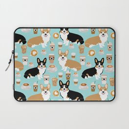 Corgis and coffee pillow phone case corgi gift cute cardigan corgi art Laptop Sleeve