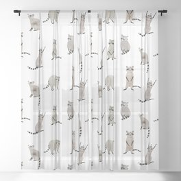 Raccoon pattern Sheer Curtain