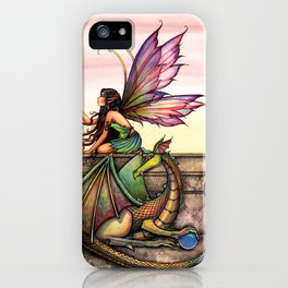 Dragon's Orbs Fairy and Dragon Fantasy Art Illustration by Molly Harrison iPhone Case