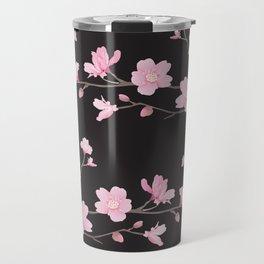 Cherry Blossom - Black Travel Mug