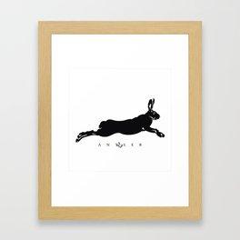 Running Hare - Black Framed Art Print