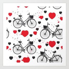seamless pattern black bike and red heart on white background. Vector illustration Art Print
