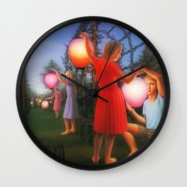 Classical Magic Realism Masterpiece 'Garden Party' by George Tooker Wall Clock