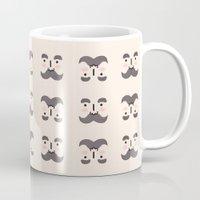 mustache Mugs featuring Mustache by Jaeyun Woo