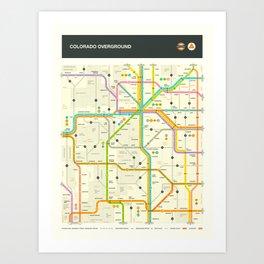 COLORADO HIGHWAY MAP Art Print