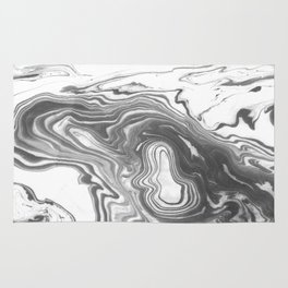 Katsuro - spilled ink marble paper map topography painting black and white minimal ocean swirl  Rug