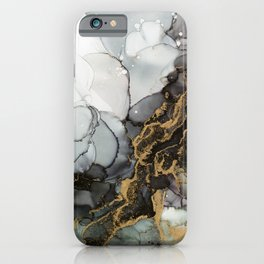 Black Gold Marble Storm iPhone Case