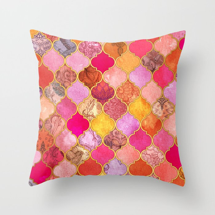 Hot Pink, Gold, Tangerine & Taupe Decorative Moroccan Tile Pattern Throw Pillow by micklyn ...