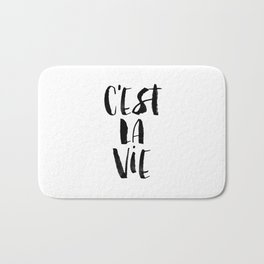 C'est La Vie black and white watercolor typography wall art home decor hand lettered life quote Bath Mat