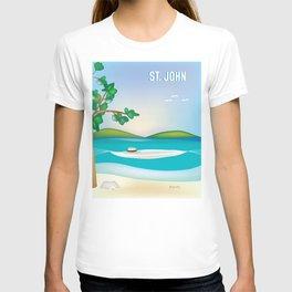 St. John, Virgin Islands - Skyline Illustration by Loose Petal T-shirt