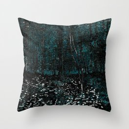 Dark Teal Van Gogh Trees & Underwood Throw Pillow