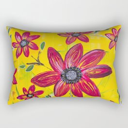 Abstract Yellow with Red Flowers Rectangular Pillow