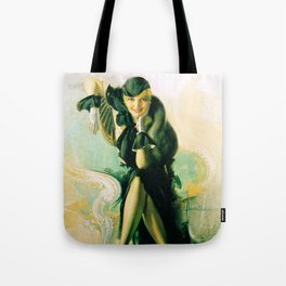 """Flapper with Black Fur"" Pinup by Rolf Armstrong Tote Bag"