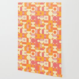 Thoroughly Modern Pink And Orange Geometric Design Wallpaper