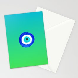 Single Evil Eye Amulet Talisman Ojo Nazar - ombre lime to tuquoise Stationery Cards