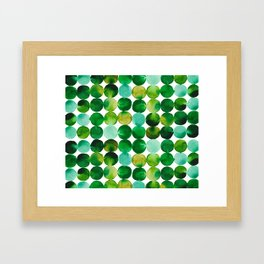 Green Watercolor Circles Pattern Framed Art Print