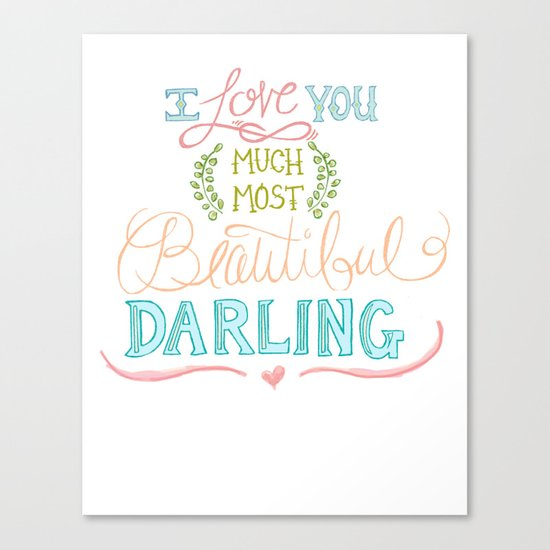 Hand Lettered I LOVE YOU Print Canvas Print
