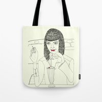 mia wallace Tote Bags featuring Mia Wallace by Elena Éper