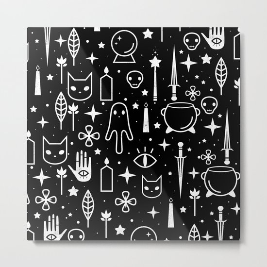 Spirit Symbols Black Metal Print