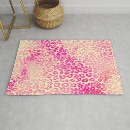 Modern Pink Yellow Watercolor Cheetah Animal Rug