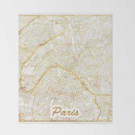 Paris Map Gold Throw Blanket