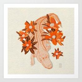 Alligator and Camellias Art Print