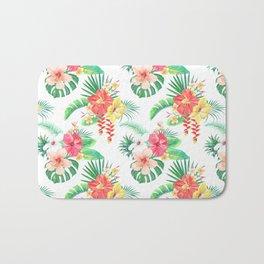 tropical watercolor floral pattern Bath Mat